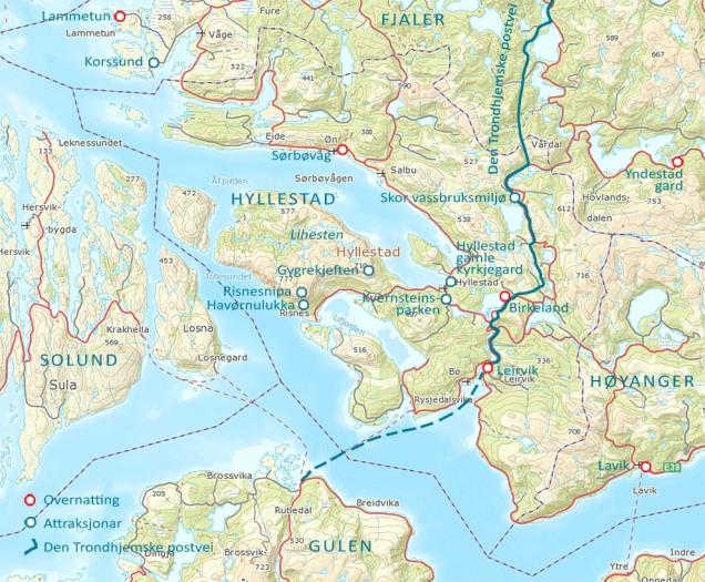 Kart med nokre av attraksjonane og overnattingsmoglegheitane i Hyllestad