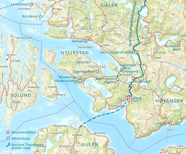 Map with selected attractions and accommodation places in Hyllestad and beyond