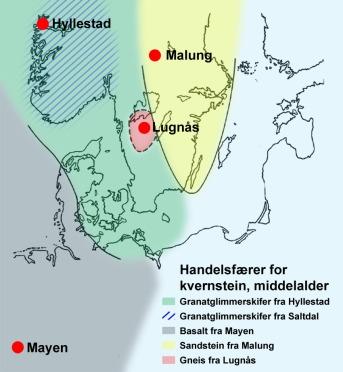 Utbreiing av kvernstein frå nokre store brot i Nord-Europa i mellomalderen (etter Carelli og Cresten 1997)