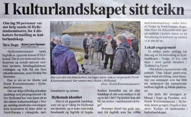 Reportasje frå Hyllestadseminaret 2016 i avisa Ytre Sogn 29.4.2016