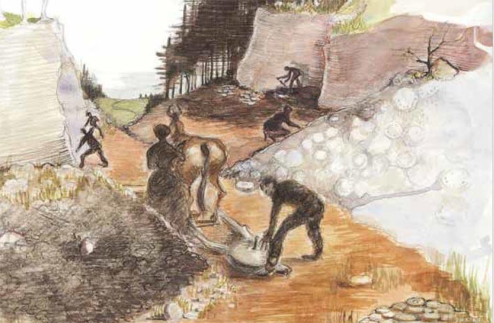 Slik kan det ha sett ut i kvernsteinsbrota for 1000 år sida