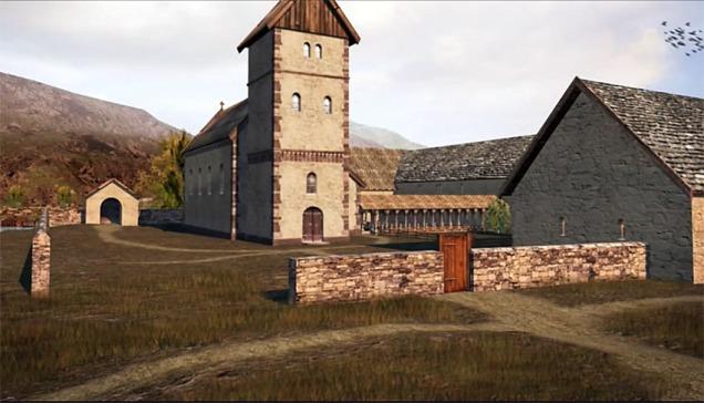 Munkeliv kloster på Nordnes i Bergen, slik det kan ha fortona seg i mellomalderen. Rekonstruksjon av firmaet Arkikon, bilete frå filmen deira om mellomalderen i Bergen