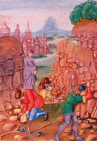 Steinhoggarane strevar, kyrkjemakta passar på. Det eldste kjende bilete av arbeid i steinbrot, frå 1400-talet (Bartholomaeus Anglicus, De proprietatibus rerum. British Library, Ms. Royal 15 E III, fol.102.)