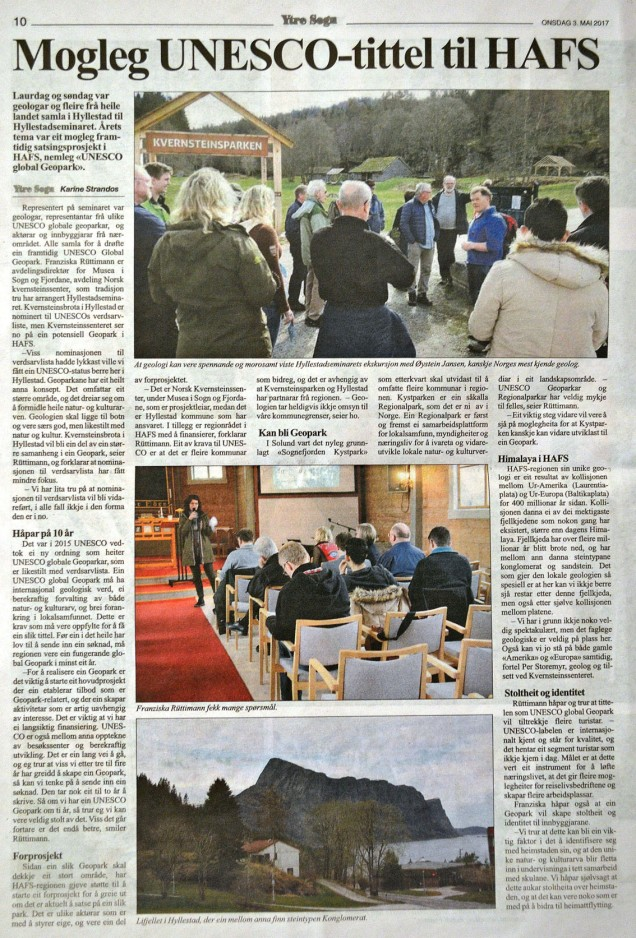 Hyllestadseminaret 2017 - reportasje i avisa Ytre Sogn