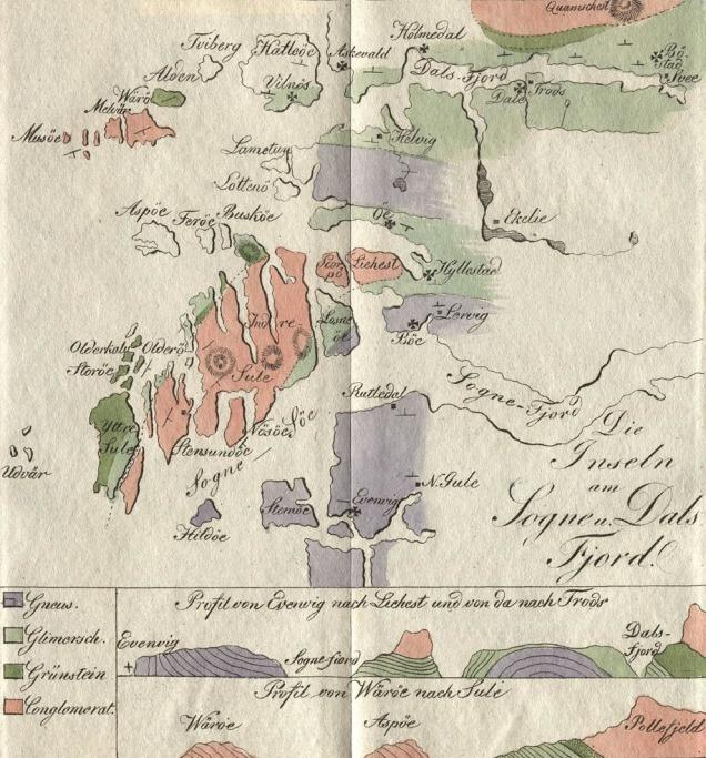 Noregs første og eit av verdas eldste geologiske kart. Teikna over HAFS-regionen på byrjinga av 1820-talet av den tyske geologen Carl Friedrich Naumann.