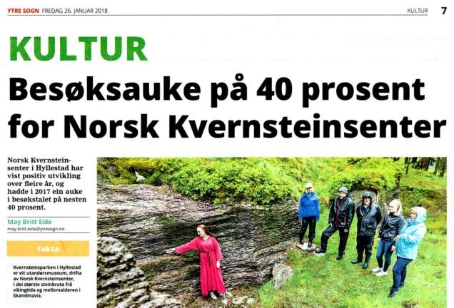 Reportasje om Kvernsteinsparken i avisa Ytre Sogn 26. januar 2018. Sjå heile artikkelen ved å trykke på biletet!