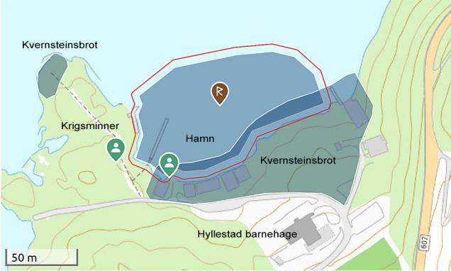 Kart over Myklebustfjøra i Hyllestad med verna område (blå farge). Skjermdump frå Kulturminnesøk (Riksantikvarens kart for allmenta)