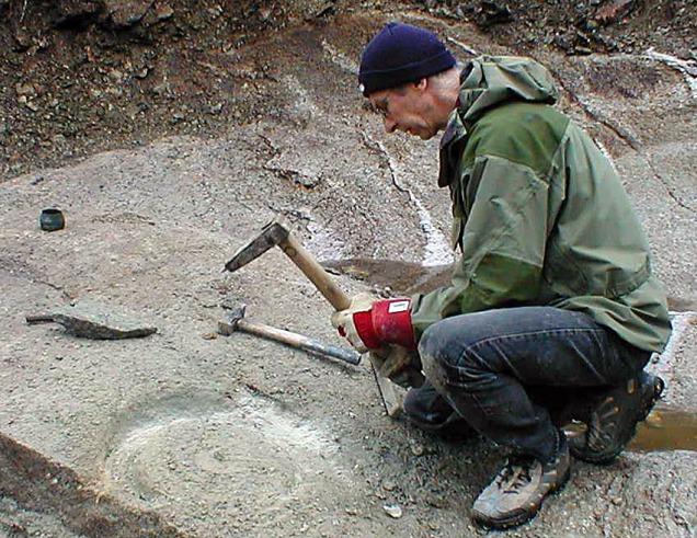 Torbjørn Løland hogger kvernstein i