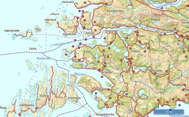 Sand, pukk og grusressursar i HAFS-regionen. Loneland ligg rett sør for Flekke. Kart: NGU.