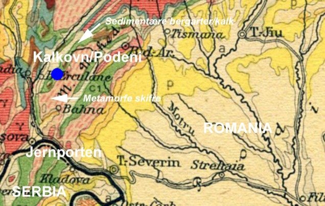 Del av eldre geologisk kart over Romania, med de søndre Karpatene. KIlde: Wikimedia Commons