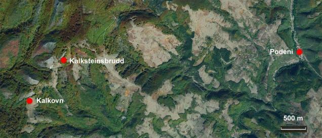 Kart. Landsbyen Podeni, kalkovn og kalksteinsbrudd. Bakgrunn: Google Maps.