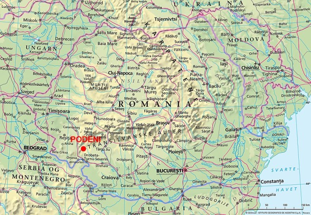 Kart over Romania. Fra Store Norske Leksikon.