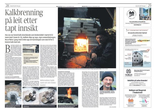 Kalkbrennarreportasje i avisa Dag og Tid, signert Erik Solheim