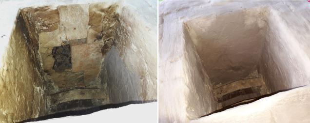 Før og etter reparasjon av fyllingskammeret med kalkpuss og kalkslemming. Klebersteinene i kammeret er tildels totalt pulveriserte etter mange brenninger.