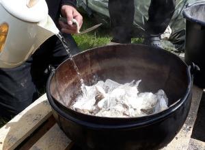 Østers leskes med varmt vann. Det gikk utmerket!