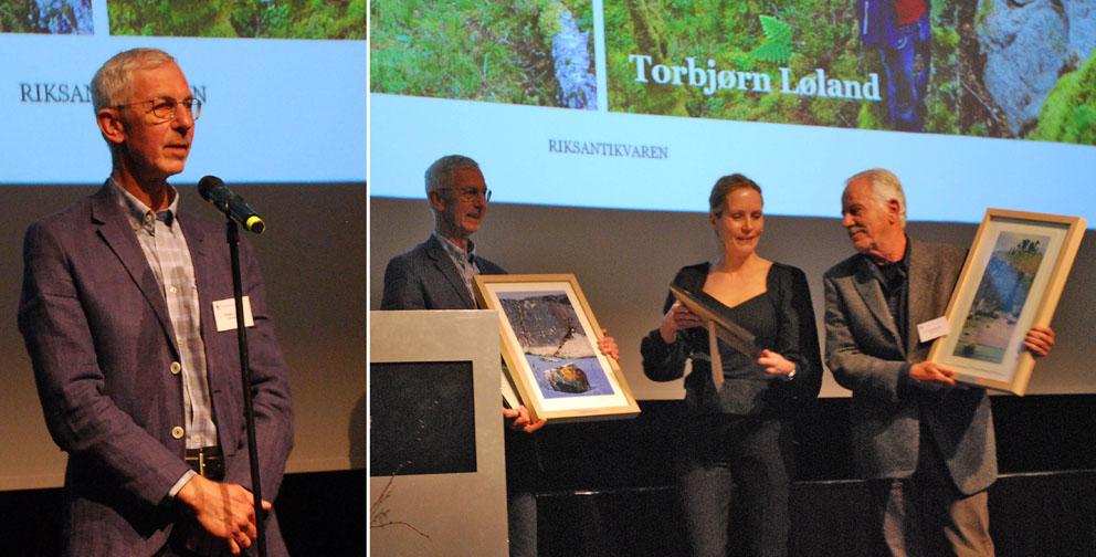 Torbjørn fekk kulturminneprisen i lag med Per Olav Mathiesen frå Rendal – av Riksantikvar Hanna Geiran i Stavanger den 29. oktober. Foto: Per Storemyr
