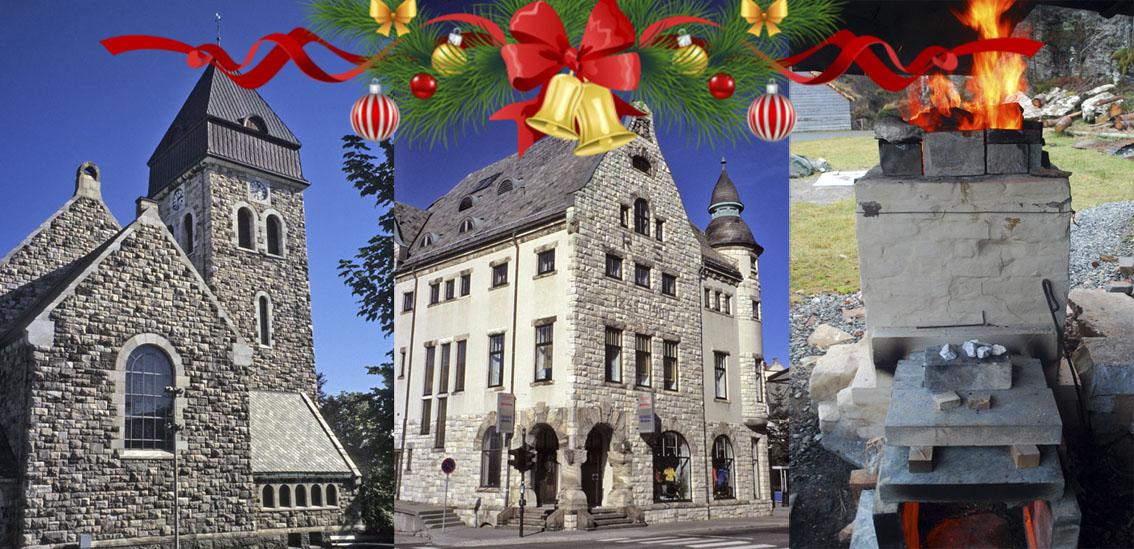 Ålesund kirke, Rønnebergbua og julekalkbrenning i Kvernsteinsparken: Tuftet på marmor fra Eide!