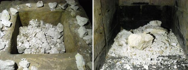 Straks vi begynte å ta ut brentkalken pulveriserte den mellom fingrene - og raste ned i brennkammeret