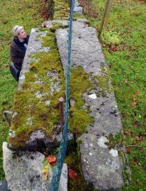 Gamle gravplater brukt oppatt over «portalane» i muren inn til kyrkjegarden. Foto: Per Storemyr