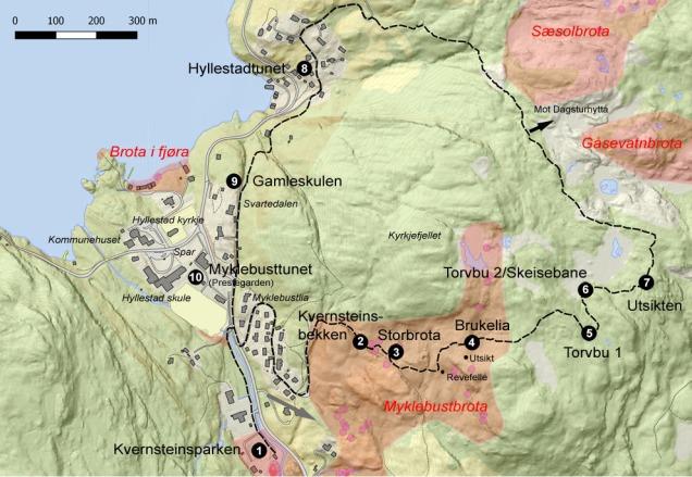 Her er eit kart du kan bruke for vandringa i Hyllestadmarka. Eller du kan bruke eit online kart lenger nede på sida. Grunnkart: Kartverket. Illustrasjon: Per Storemyr