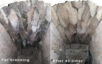 Hvelvet hold godt!. Ikke en eneste stein falt ned gjennom 40 timer kalkbrenning.
