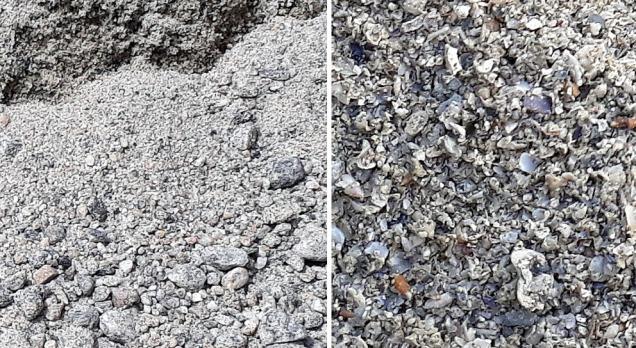 Inntrykk av sanden som ble brukt til å blande mørtel: Natursand fra Modalen (til venstre) og skjellkalk fra Sotra