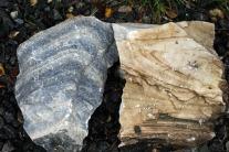 To typer Mostramarmor til brenning: Blågrå og hvit (brunt er forvitringshud på den hvite)